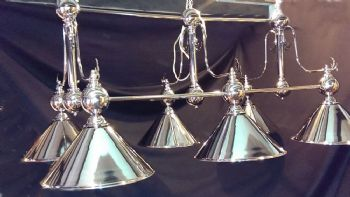 Pool Snooker Billiard table Chrome 6 light fitting SPECIAL OFFER Choice of shade colour